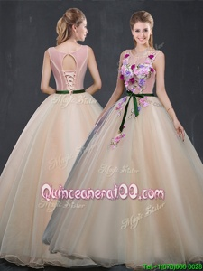 Decent Scoop Champagne Sleeveless Organza Lace Up Quinceanera Dresses forProm and Sweet 16 and Quinceanera