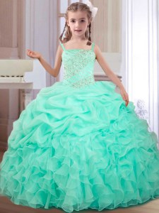 Custom Fit Straps Pick Ups Floor Length Ball Gowns Sleeveless Apple Green Little Girls Pageant Dress Lace Up