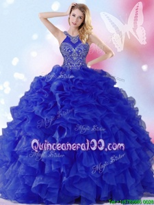 Custom Design Halter Top Sleeveless Lace Up Sweet 16 Dress Royal Blue Organza