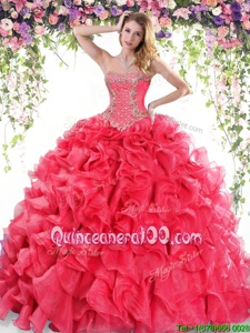 Elegant Beading and Ruffles Quinceanera Dress Red Lace Up Sleeveless Sweep Train