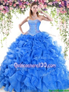 Beautiful Sleeveless Organza Sweep Train Lace Up Quinceanera Gown inBlue forSpring and Summer and Fall and Winter withBeading and Ruffles