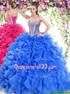 Luxurious Blue Sleeveless Beading and Ruffles Lace Up Quinceanera Dress