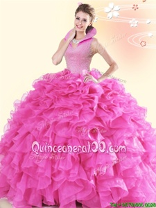 Inexpensive High-neck Sleeveless Backless Ball Gown Prom Dress Hot Pink Organza