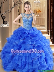 Unique Scoop Royal Blue Lace Up Quinceanera Dresses Beading and Ruffles Sleeveless Floor Length