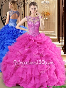 Fantastic Hot Pink Ball Gowns Organza Scoop Sleeveless Beading and Ruffles Floor Length Lace Up Sweet 16 Dress