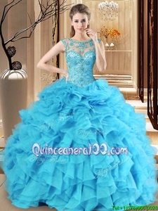 Modern Baby Blue Ball Gowns Scoop Sleeveless Organza Floor Length Lace Up Beading and Ruffles Quinceanera Dresses