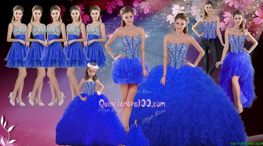 Hot Sale Royal Blue Sweet 16 Dresses Military Ball and Sweet 16 and Quinceanera and For withBeading and Ruffles Sweetheart Sleeveless Lace Up