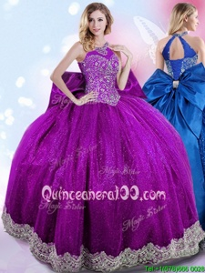 Custom Design Halter Top Sleeveless Taffeta Floor Length Lace Up Quinceanera Gown inEggplant Purple forSpring and Summer and Fall and Winter withBeading and Bowknot
