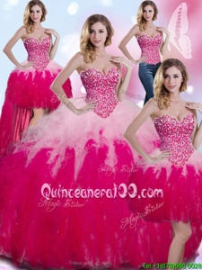 Hot Sale Four Piece Sweetheart Sleeveless Lace Up 15 Quinceanera Dress Multi-color Tulle