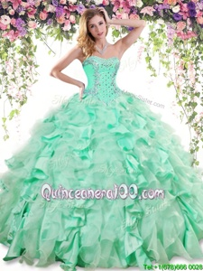 High End Apple Green Lace Up Ball Gown Prom Dress Beading and Ruffles Sleeveless Floor Length