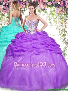 Noble Eggplant Purple Sleeveless Beading and Pick Ups Floor Length Quinceanera Gowns