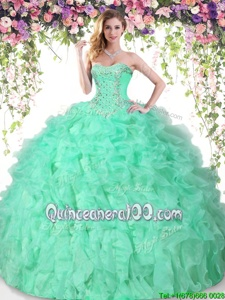 Eye-catching Floor Length Ball Gowns Sleeveless Apple Green Sweet 16 Dress Lace Up