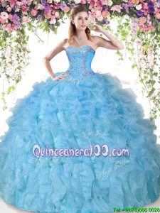 Custom Made Baby Blue Organza Lace Up 15 Quinceanera Dress Sleeveless Floor Length Beading and Ruffles