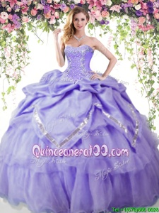 Luxury Lavender Sweetheart Lace Up Beading and Pick Ups 15 Quinceanera Dress Sleeveless