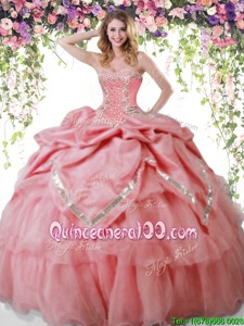 Spectacular Sleeveless Organza and Taffeta Floor Length Lace Up Ball Gown Prom Dress inWatermelon Red forSpring and Summer and Fall and Winter withBeading and Pick Ups