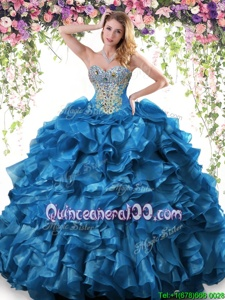 Fabulous Sweetheart Sleeveless Organza Vestidos de Quinceanera Beading and Ruffles Lace Up
