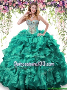 Customized Turquoise Sweetheart Lace Up Beading and Ruffles Ball Gown Prom Dress Sleeveless
