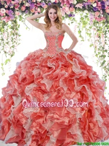 Beauteous Floor Length Lace Up Sweet 16 Quinceanera Dress White And Red and In forMilitary Ball and Sweet 16 and Quinceanera withBeading and Ruffles