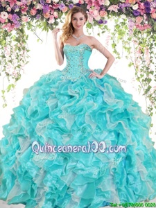 Edgy Spring and Summer and Fall and Winter Organza Sleeveless Floor Length 15th Birthday Dress andBeading and Ruffles