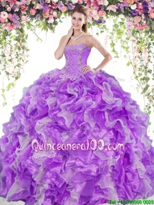 Excellent Floor Length White And Purple Ball Gown Prom Dress Organza Sleeveless Spring and Summer and Fall and Winter Beading and Ruffles