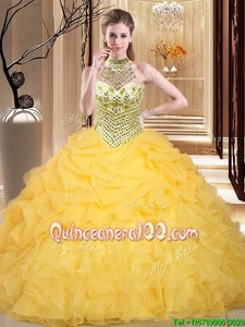 Fantastic Halter Top Sleeveless Floor Length Beading and Ruffles and Pick Ups Lace Up Vestidos de Quinceanera with Yellow