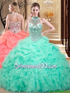 Custom Fit Halter Top Sleeveless Beading and Ruffles and Pick Ups Lace Up 15th Birthday Dress