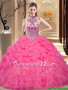 Delicate Halter Top Hot Pink Sleeveless Beading and Ruffles and Pick Ups Floor Length Quince Ball Gowns