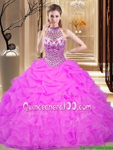 Popular Organza Halter Top Sleeveless Lace Up Beading and Ruffles and Pick Ups 15 Quinceanera Dress inLilac