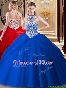 New Style Tulle Halter Top Sleeveless Brush Train Lace Up Beading and Pick Ups Quinceanera Gowns inRoyal Blue