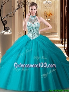 Customized Halter Top Teal Tulle Lace Up Quinceanera Gowns Sleeveless Brush Train Beading and Pick Ups