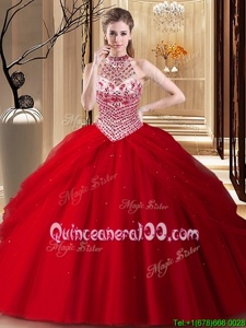 Halter Top Sleeveless Brush Train Beading and Pick Ups Lace Up 15 Quinceanera Dress