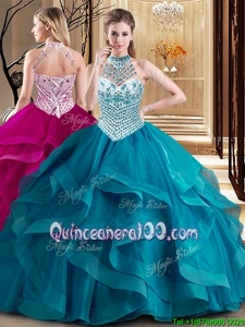 Teal Tulle Lace Up Halter Top Sleeveless With Train Vestidos de Quinceanera Brush Train Beading and Ruffles