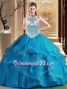 Luxury Blue Lace Up Halter Top Beading and Ruffles Sweet 16 Dresses Tulle Sleeveless Brush Train