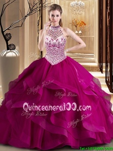 Modern Halter Top Fuchsia Lace Up Quinceanera Gowns Beading and Ruffles Sleeveless With Brush Train