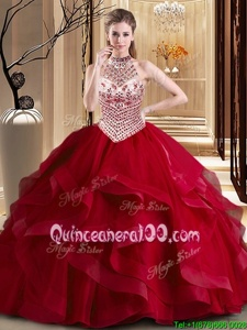 Lovely Halter Top Sleeveless Tulle With Brush Train Lace Up Sweet 16 Dress inWine Red forSpring and Summer and Fall and Winter withBeading and Ruffles