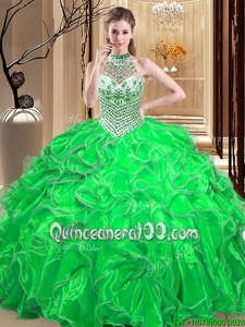 Stylish Spring Green Lace Up Halter Top Beading and Ruffles Quinceanera Gowns Organza Sleeveless