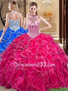 Charming Floor Length Hot Pink Quince Ball Gowns Halter Top Sleeveless Lace Up