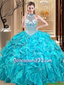Beautiful Halter Top Aqua Blue Sleeveless Organza Lace Up Quinceanera Dresses forMilitary Ball and Sweet 16 and Quinceanera