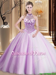 Dramatic Halter Top Asymmetrical Lilac Vestidos de Quinceanera Tulle Brush Train Sleeveless Spring and Summer and Fall and Winter Beading