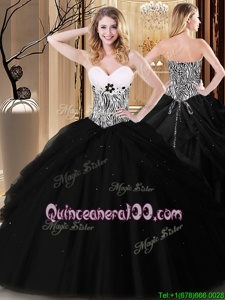 Fine Black Sweetheart Lace Up Pick Ups and Pattern Quinceanera Dress Sleeveless