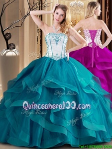 Floor Length Lace Up Quince Ball Gowns White and Teal and In forMilitary Ball and Sweet 16 and Quinceanera withEmbroidery