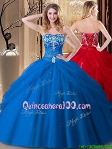Sumptuous Floor Length Lace Up Quince Ball Gowns Royal Blue and In forMilitary Ball and Sweet 16 and Quinceanera withEmbroidery