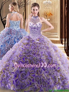 Great Halter Top Multi-color Sleeveless Fabric With Rolling Flowers Brush Train Lace Up 15 Quinceanera Dress forMilitary Ball and Sweet 16 and Quinceanera