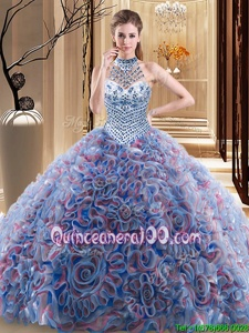 Fashionable Multi-color Vestidos de Quinceanera Military Ball and Sweet 16 and Quinceanera and For withBeading Halter Top Sleeveless Brush Train Lace Up