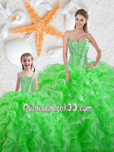 Inexpensive Spring Green Sleeveless Organza Lace Up Ball Gown Prom Dress forMilitary Ball and Sweet 16 and Quinceanera