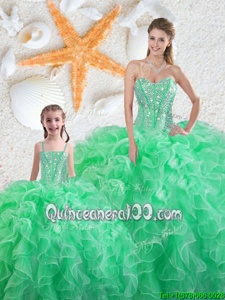 Fashionable Apple Green Lace Up 15 Quinceanera Dress Beading and Ruffles Sleeveless Floor Length