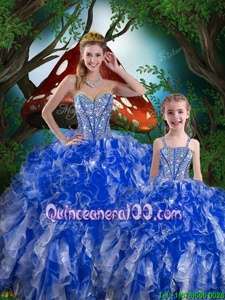 Lovely Sleeveless Floor Length Beading and Ruffles Lace Up Quinceanera Dresses with Navy Blue