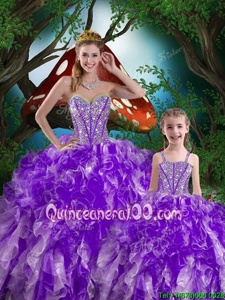 Colorful Sleeveless Organza Floor Length Lace Up Ball Gown Prom Dress inEggplant Purple forSpring and Summer and Fall and Winter withBeading and Ruffles
