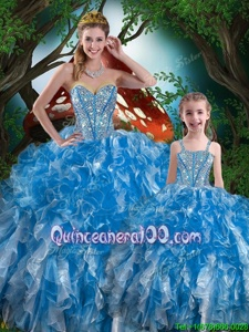 Floor Length Lace Up Quince Ball Gowns Royal Blue and In forMilitary Ball and Sweet 16 and Quinceanera withBeading and Ruffles