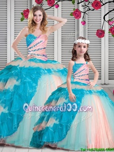 Custom Fit Sleeveless Beading and Ruching Lace Up 15th Birthday Dress